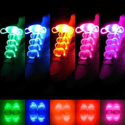 Light Up LED Shoe laces Party  Disco Flashing 8 Colour Glow