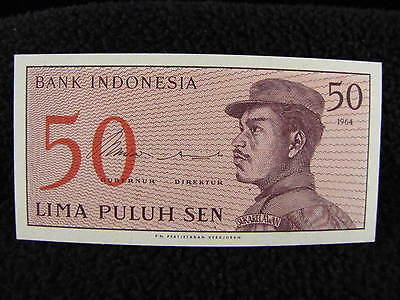 Vintage Antique 1964 Bank Indonesia 50 LIMA PULUH SEN Paper Currency Money Bill