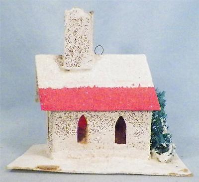 Vintage Christmas Church Train Yard Putz Japan White Red Roof Glitter Bush As Is