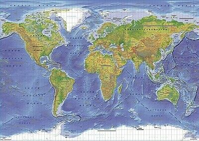 World Map Educational Political Terrain Poster (61X91Cm) Picture Print New Art