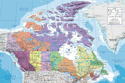 MAP OF CANADA EDUATIONAL POSTER Wall Chart Print NEW Licensed Art Travel