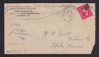 Usa 1899 Hawkeye House Hotel Cover Stanberry Missouri To Kansas