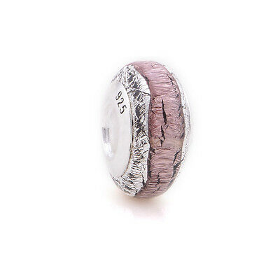 Authentic Sterling Silver Pink Crackle Charm Bead for Bracelet Murano Glass Cute