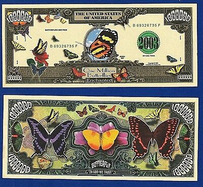 1-Butterfly insects Monarch  Million Dollar Bill  Collectible- FAKE- MONEY- A4