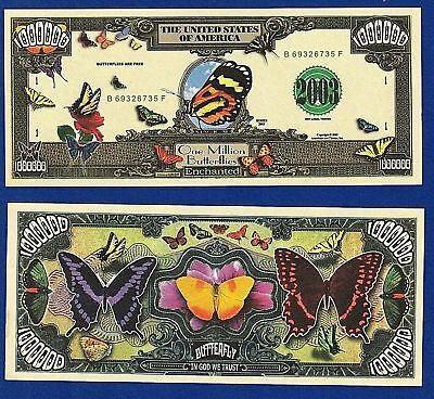 2--Butterfly insects Monarch Million Dollar Bills Collectible- FAKE- MONEY-A4