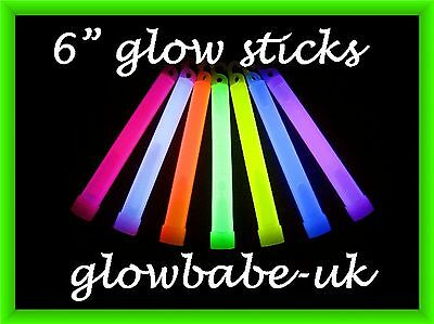 "6"" Glowsticks Neon Uv Rave Glow Sticks Party Bags Glo Sticks 9 Colours Free Post"