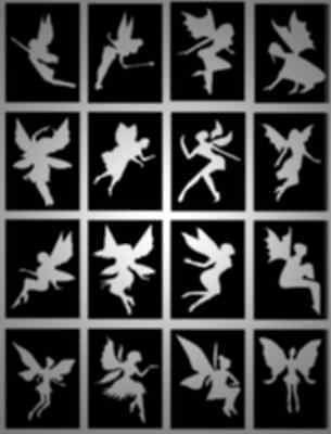 FAIRY glitter tattoo stencils, great for parties, BEAUTIFUL DESIGNS, Pack of 32