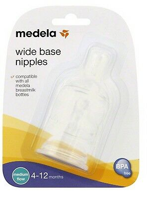 MEDELA Medium Flow Wide Base Bottle Nipple ~ 3, 6 or 9 Nipples ~ New! Free Ship