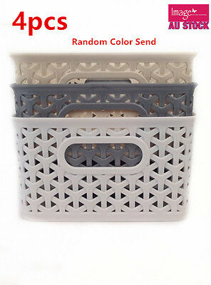 4x Rectangle Multi Purpose Plastic Basket Storage Color Random Send 25cm BK0169