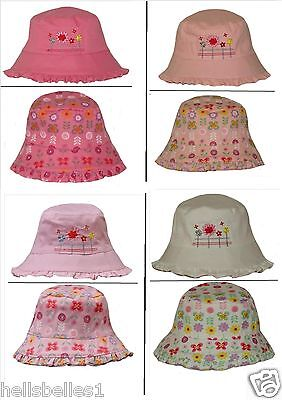 Girl's Embroidered/floral Reversible Bush/bucket Summer Hat 8Mths -2Yrs Approx