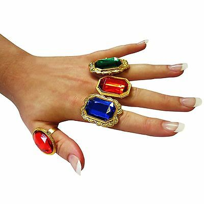 Plastic Ring Fancy Dress Accessory Gem Jewel Pirate Steam Punk Victorian Cosplay