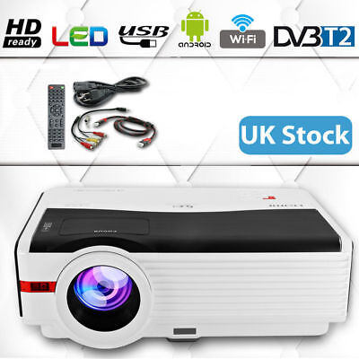 Android WiFi DVB-T2 TV 5000lm Home Cinema LED Projectors HD 1080p WLAN USB HDMI