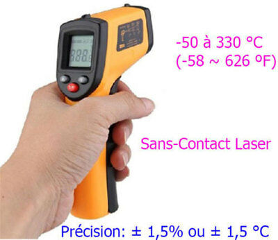 THERMOMETRE INFRAROUGE LASER SANS CONTACT -50° à + 330°