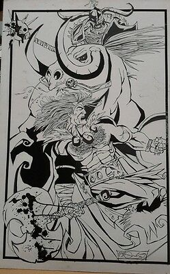 "1992 J Scott Brown Original Fantasy Art-Barbarian- 19""x29""-FREE S&H (FF-368)"