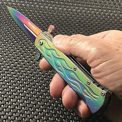 "8.75"" Tac Force Stiletto Web Skull Spring Assisted Rainbow Tactical Knife Open"