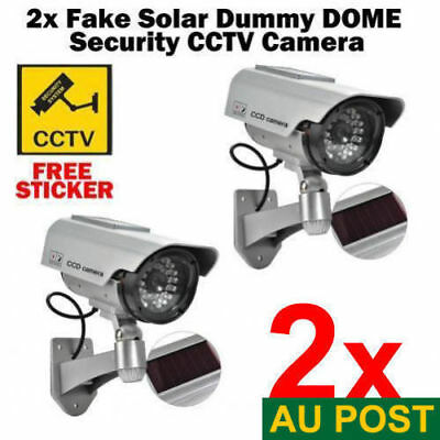 2x Solar Power LED CCTV Camera Fake Security Outdoor Dummy Surveillance