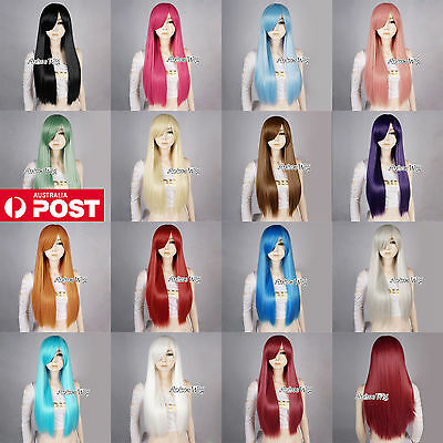 Women's Long Straight 70CM Blue/Purple/Brown/Orange Fashion Party Cosplay Wig