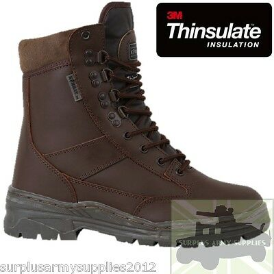 Military Patrol Boots Brown Mtp 3M Thinsulate Lining British Army Cadet Leather