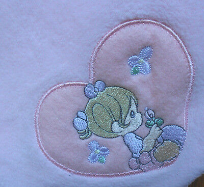"Precious Moments Pink Fleece Baby Blanket Heart Plush Lovey 36 x 42"" 2001"""
