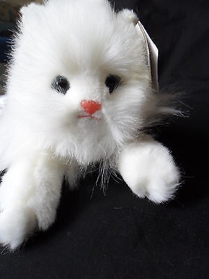 Ty Classic Cat White Persian Kitty Cat  Angel 1987 Korea Tag Plush  NEW! Rare!!