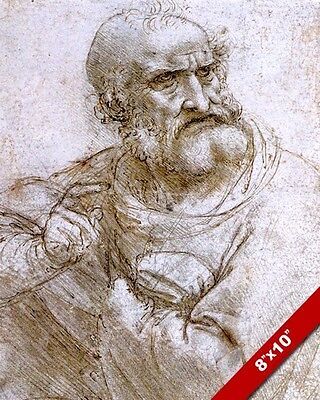 Leonardo Da Vinci Apostle Sketch For Last Supper Painting Real Canvas Art Print