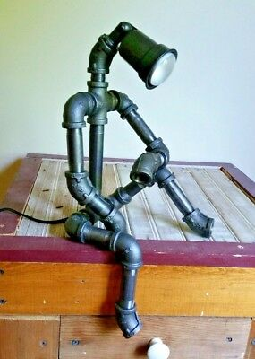 Robot Desk Lamp Industrial Pipe Light Man Cave Garage Father's Day Mechanic Dad