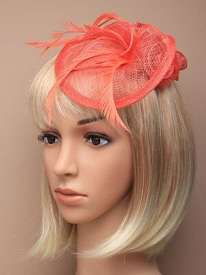 Large Coral Headband Aliceband Hat Fascinator Weddings Ladies Day Races Ascot