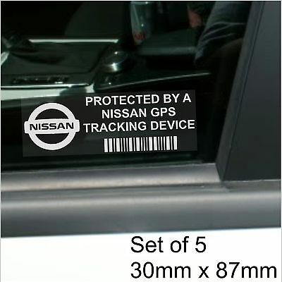 5 x Nissan GPS Tracking Device Security Stickers-Micra,Juke-Car Alarm Tracker