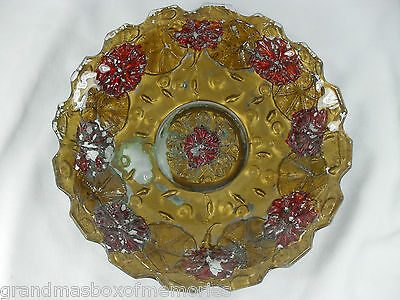 Antique DUGAN Glass Co GOOFUS GLASS Ruby Red MORNING GLORY Serving Bowl