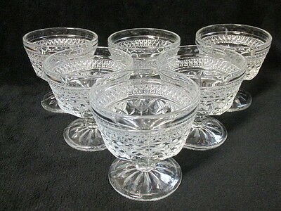 Vintage ANCHOR HOCKING WEXFORD Footed Dessert Berry Sherbet Bowls Cups Set Of 6
