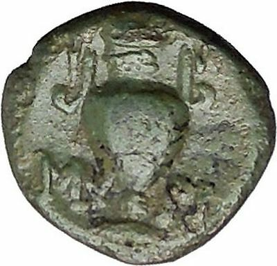 Myrina in Aeolis 2nd-1st Cent BC Rare Ancient Greek Coin Helios Amphora  i49512
