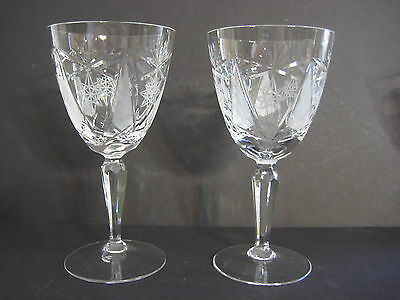 """PAIR OF AMERICAN BRILLIANT CUT CRYSTAL GLASS WINE GOBLETS, 6 3/4"""" T X 3 1/2"""" D"""