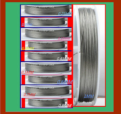 Stainless steel beading wire Charm jewellery finding 0.25 0.35 0.38 0.6 1.0 mm