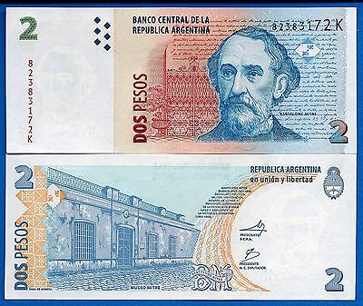 Argentina P-352 Two Pesos Year ND 2010 Uncirculated FREE SHIPPING