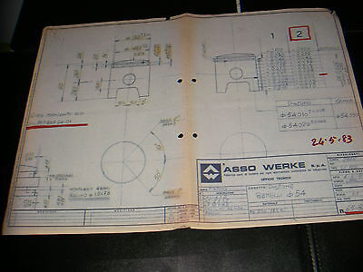 Asso Werke 1983 - Benelli 125 sc. -Piston- Technical drawing- blueprint