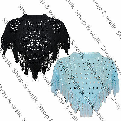 Kids Girls Childrens Soft Knitted Tassels Crochet Hanky Hem Poncho Drape Shawl