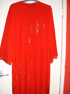 Ladies red abaya set with embroidery and beads