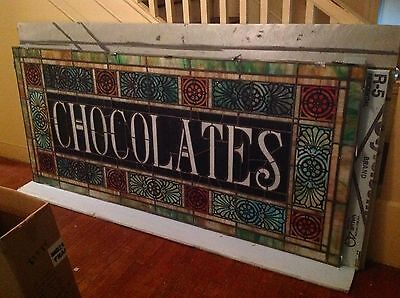 CHOCOLATES - circa 1900 stained glass window from a Pa. candy store