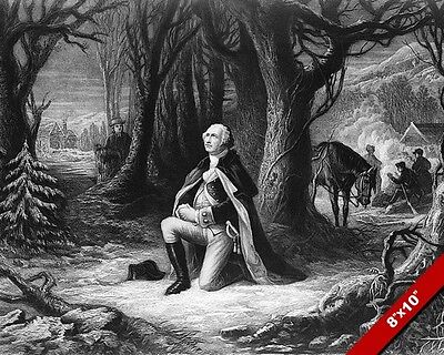 George Washington Prayer At Valley Forge Painting On Real Canvas Art Print