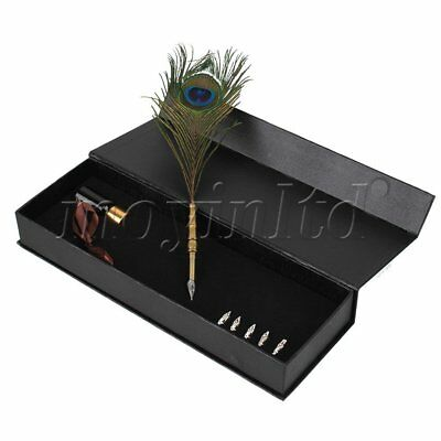 Peacock Feather Dip Pen Metal Nibbed Pen Quill Ink Set Stainless Steel Handle