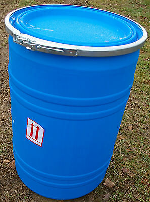 Plastic Barrel 30 Gn HD Tapered Resealable Blue Open Top Drum W/Clamp Ring CIDER