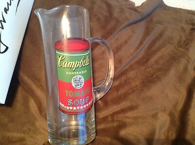 Andy Warhol Campbell's Soup Block glass pitcher with signature New in box