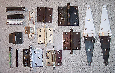 Lot Of Vintage Antique Door Hinges Parts Hardware