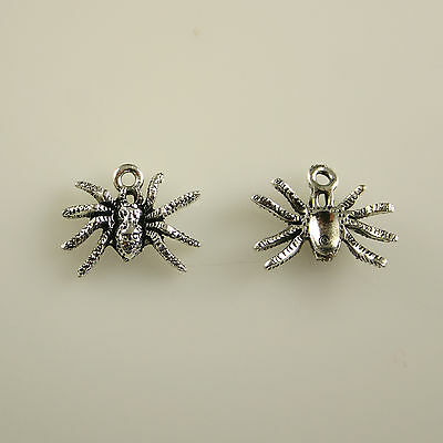Spider - 5 Lead Free Antique Silver Tone Pewter Charms