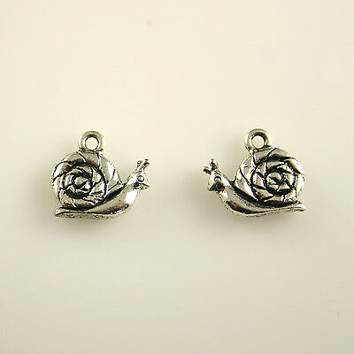Snail - 5 Lead Free Antique Silver Tone Pewter Charms