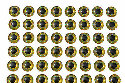 3D GOLD Fish Eyes Fly Tying Lure Eyes Jigs  lures ASSORTED SIZES 3mm - 12mm