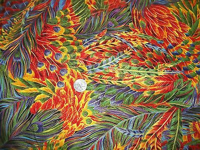 "Vintage Cotton Fabric Hoffman ""Kashmir"" Colorful , bright feathers 1 Yard #307"