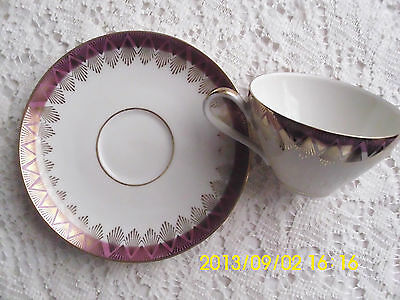 R KPM Krister Germany Petite Tea Cup and Saucer Maroon and Gold