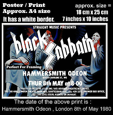 Black Sabbath live concert Hammersmith London 8th May 1980 A4 size poster print