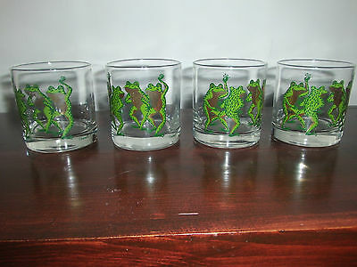Couroc Dancing Frogs Low Ball Tumblers/Glasses – Set of 4!